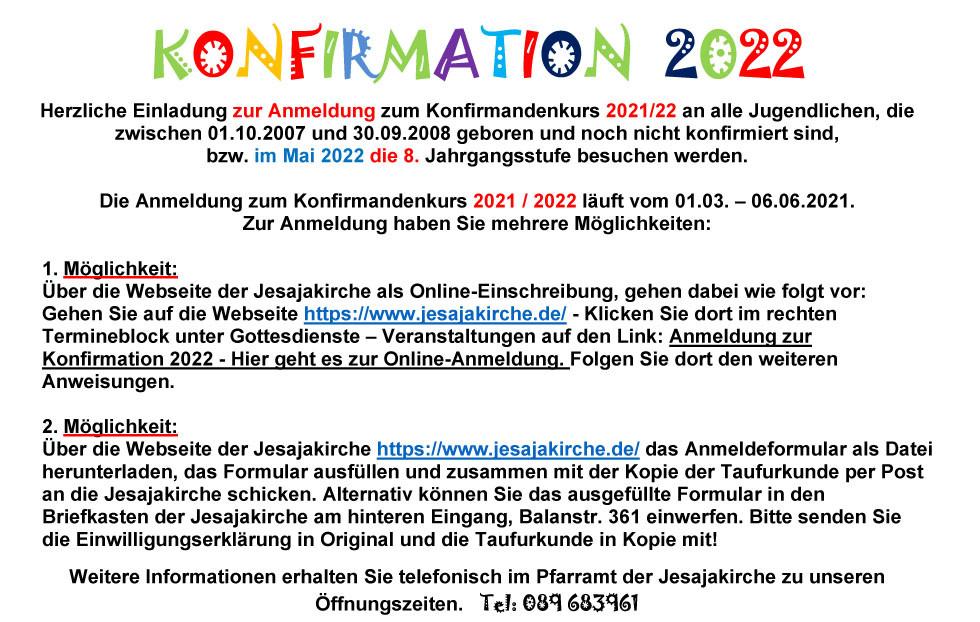 Einladungsschreiben Konfirmation